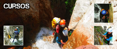 Cursos de barranquismo: iniciación, aguas vivas, grandes verticales, y autorrescate. Guías-instructores profesionales y titulados.