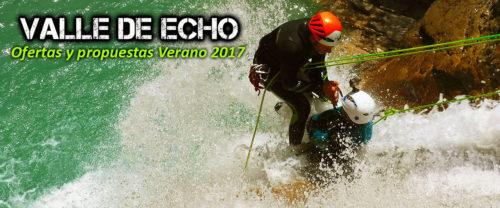 Barranquismo, descenso de cañones en el Valle de Echo. Oferta y propuestas para este verano. Guías de Montaña y Barrancos.