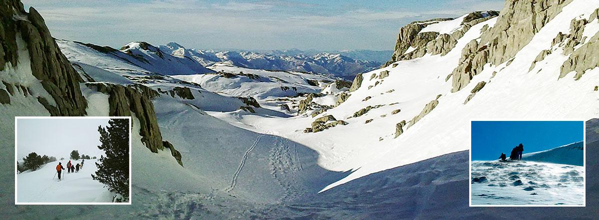 Raquetas de nieve en Pirineo Navarro, Belagoa, Zuriza, y Linza. Guías de montaña UIMLA. Mountain guides UIMLA. Snowshoeing in Navarre, Basque Country, Belagua, Zuriza and Linza. Elur Erraketak Nafarroan, belagoan, Zurizan, eta Linzan. Mendi Gidariak UIMLA.